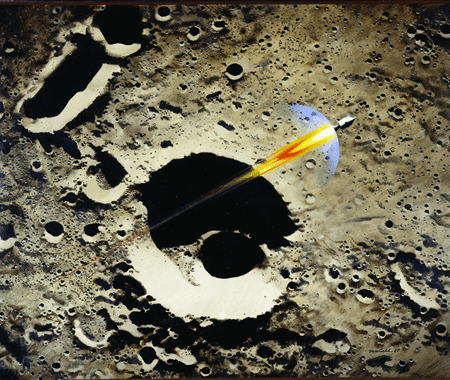 """Robert T. McCall, """"Apollo 8 Coming Home,"""" oil, 3' 3 7/8"""" x 4', from the collection of the Smithsonian's National Air and Space Museum on display at Polk Museum of Art."""