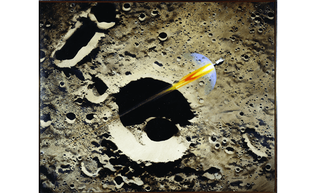 "Robert T. McCall, ""Apollo 8 Coming Home,"" oil, 3' 3 7/8"" x 4', from the collection of the Smithsonian's National Air and Space Museum on display at Polk Museum of Art."