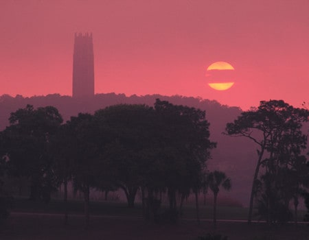 Bok Tower Sunset w-moon