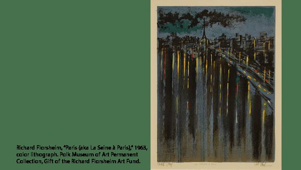 """Richard Florsheim, """"Paris (aka La Seine à Paris),"""" 1963, color lithograph. Polk Museum of Art Permanent Collection, Gift of the Richard Florsheim Art Fund."""