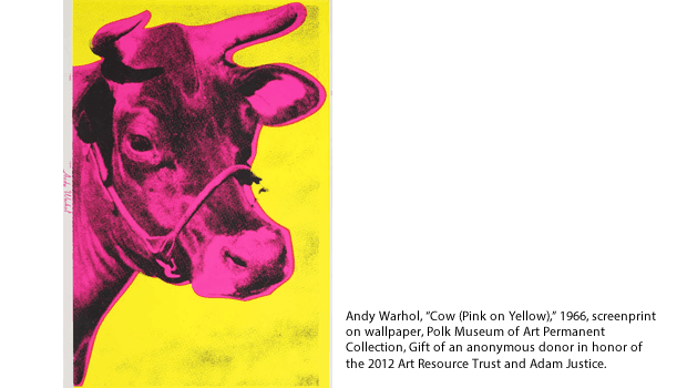 """Andy Warhol, """"Cow (Pink on Yellow),"""" 1966, screenprint on wallpaper, Polk Museum of Art Permanent Collection, Gift of an anonymous donor in honor of the 2012 Art Resource Trust and Adam Justice."""
