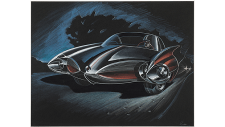 "Elia Russinoff, ""Design Proposal: Two Door Sports Car,"" 1953."