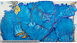 Ruben Ubiera, Monkey Business, Painted mural, 16' x 24'.