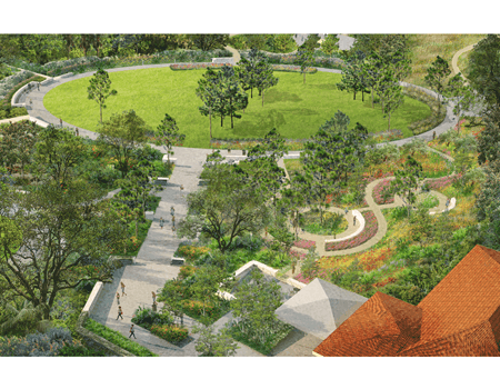 Bok Tower Gardens Oval Lawn, New Entry Perspective