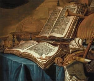 Painting of two open books and a viol da gamba scroll.