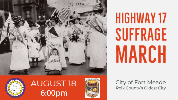 Women in white dresses marching to represent the Hwy 17 Suffrage March on Aug 18 at 6pm