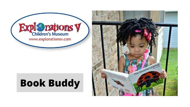 Explorations V Childrens Museum Book Buddy, photo of little girl reading a book