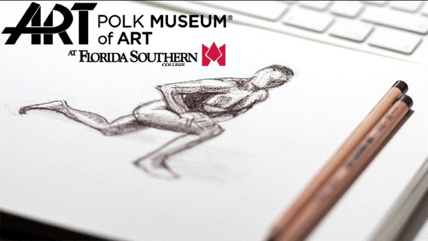 sketch of a human figure on a notepad, two pencils Polk Museum of Art at Florida Southern College