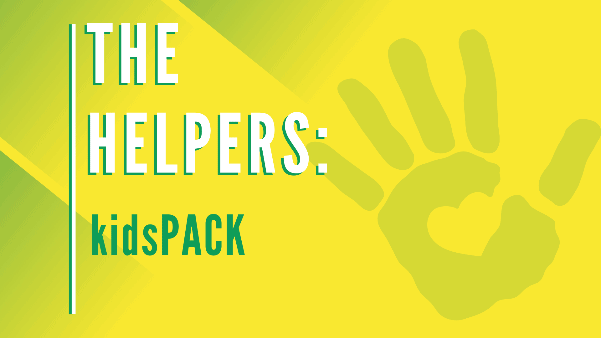 Yellow background with hand print. Text says The Helpers: kidsPACK