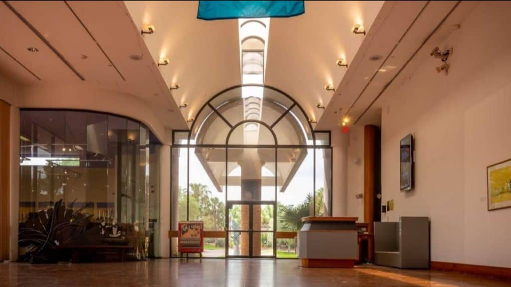 Looking toward the entrance of Polk Museum of Art from inside the Museum