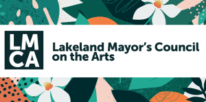 Floral background LMCA logo (Lakeland Mayor's Council on the Arts