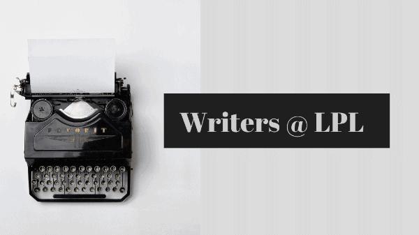 Old manual typewriter on grey background. Text: Writers @ LPL