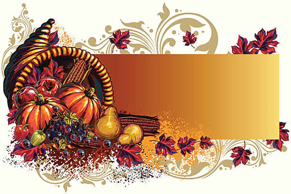 Image of cornucopia with pumpkins and gourds
