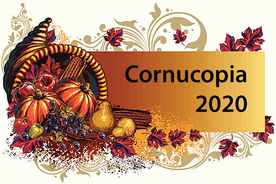 A Cornucopia with pumpkins and gourds and the text Cornucopia 2020