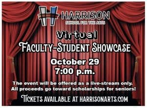 Harrison Logo Virtual Faculty-Student Showcase Red Curtains