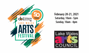 CB&T Lake Wales Arts Festival 50th Anniversary Logo dates and LWAC Logo