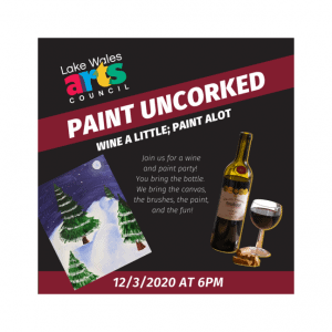 LWAC Logo Paint Uncorked Snow Painting and Wine Bottle & glass