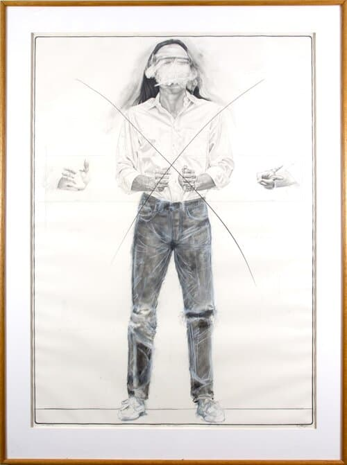 UMMARID 'TONY' EITHARONG, ATTEMPT TO SPEAK CLEARLY, 1987, CHARCOAL ON PAPER, POLK MUSEUM OF ART PERMANENT COLLECTION 1987.7.