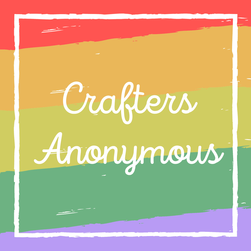 Crafters Anonymous written in script on colored background