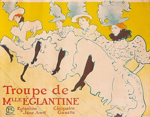 HENI DE TOULOUSE-LAUTREC, LA TROUPE DE MADEMOISELLE EGLANTINE, 1896, COLOR LITHOGRAPH. COURTESY OF THE HERAKLEIDON MUSEUM, ATHENS, GREECE.