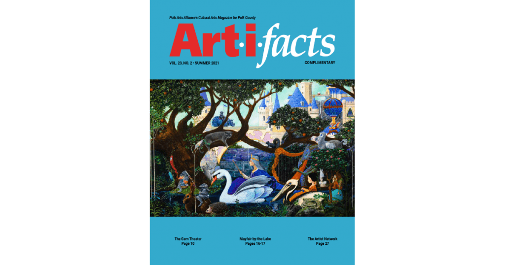 Art-i-facts Cover Vol 23, No 2, Summer 2021, painting by R.L. Alexander, Procession of the Swan Queen: oil on panel, 2021