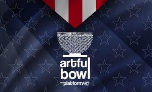 Artful Bowl Platform Art. Looks like a medal on a blue background
