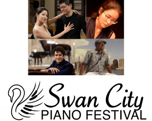 Swan City Piano Festival Logo and photos of the guest artists