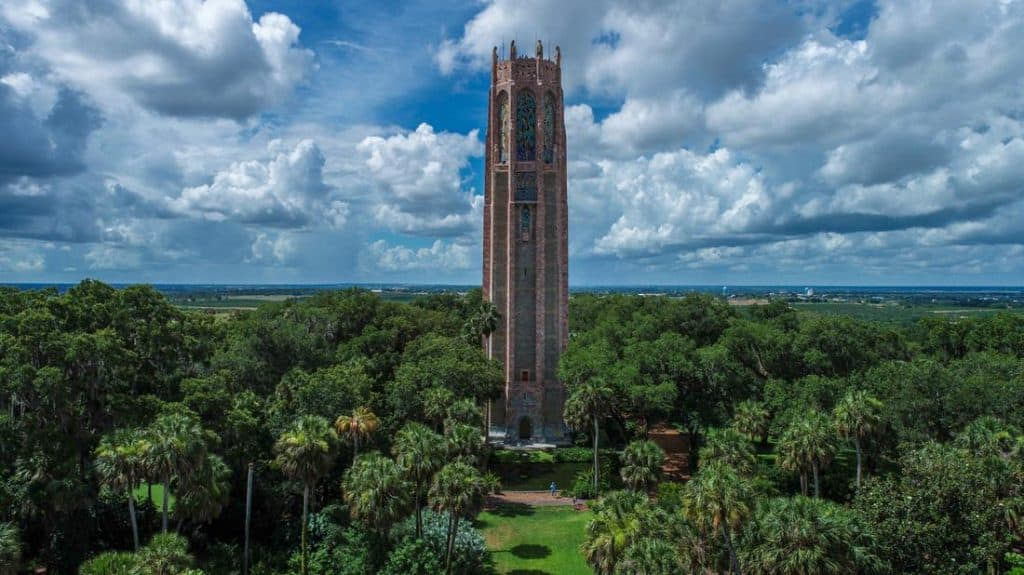 Aerial photo of Bok Tower Carillon